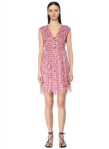 Etoile Isabel Marant Etoile Isabel Marant  V Yaka Desenli Kolsuz Mini Elbise 101601852 Pembe